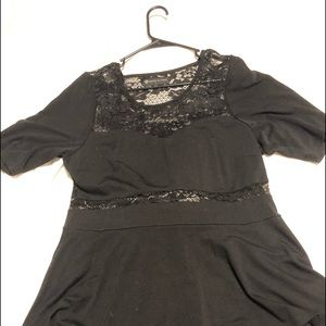 Black lace high low peplum